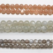 BHD 6mm Natural Round Grey White Orange Moonstone Stone Loose Gemstone Beads Accessory for Bracelet Necklace DIY Jewelry Making