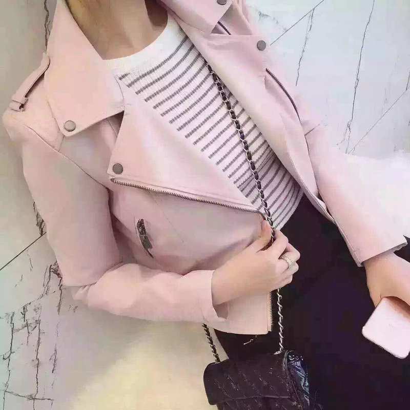 2016 New Fashion Women Motorcycle Faux Soft Leather Jackets Female