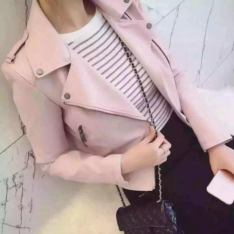 2019 Uus mood naiste naiste vabaaja mootorratta Faux pehme nahast jakid tüdrukud sügisel talvel roosa must mantel Outwear PU Streetwear