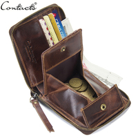CONTACT'S Genuine Leather Men's Wallet Vintage Coin Pocket With Card Holder Man Wallet Zipper Male Bag Short Men's Small Purse
