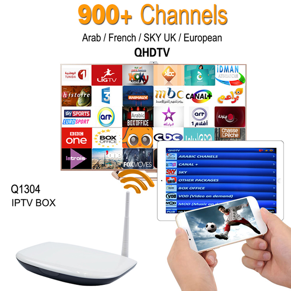ФОТО Europe Arabic French IPTV Channels included Android TV Box Q1304 Support Sport Canal Plus French Iptv Set Top Box Free Test