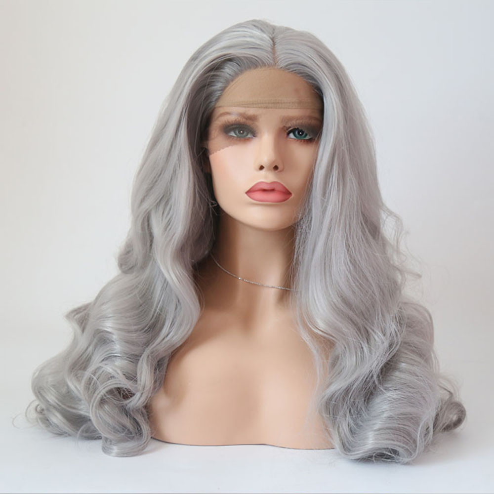 Charisma Long Wavy Grey Hair Color Heat Resistant Fiber Replacement Wigs With Natural Hairline For Black