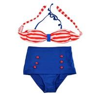2017 New Style Brazilian Swimsuit Women Swimwear Bandeau Push Up High Waist Bikini Set Polka Dot
