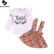 Chivry 2Pcs Newborn Baby Girls Ruffles Long Sleeve Letter T-shirt Tops with Plaid Bowknot A-ling Skirt Clothing Sets