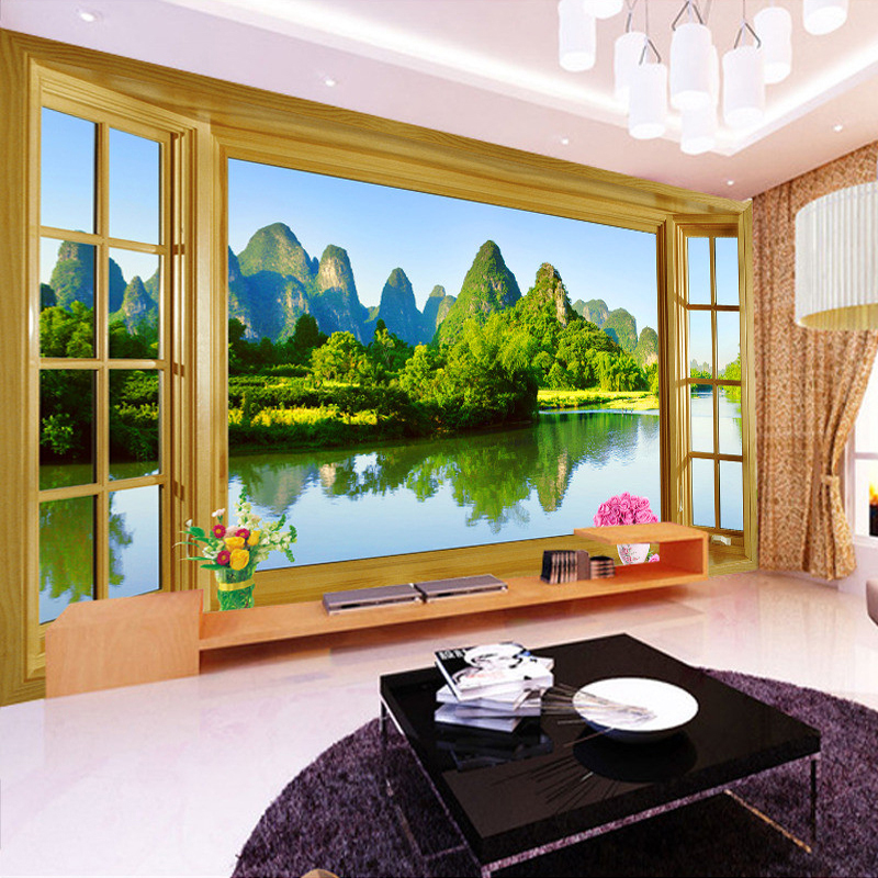 Custom Wall Mural Wallpaper Room Window Natural Mountain Water Landscape Eco-friendly Non-woven Printed Wallpaper Wall Murals 3D