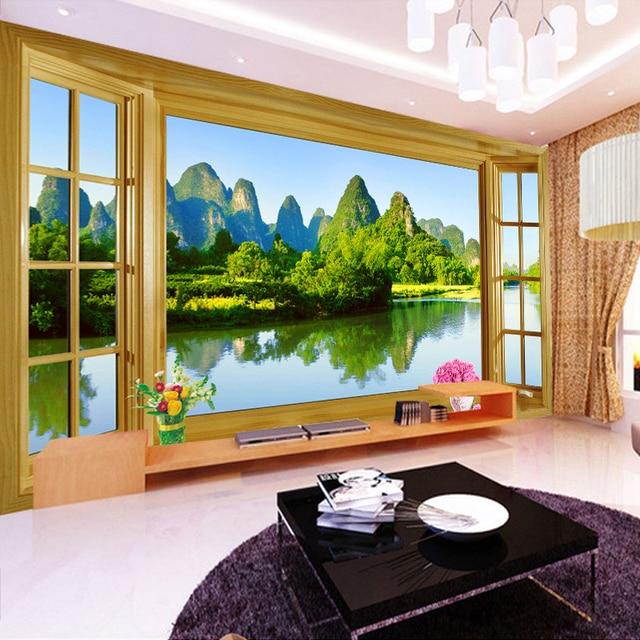 Custom Wall Mural Wallpaper Room Window Natural Mountain Water