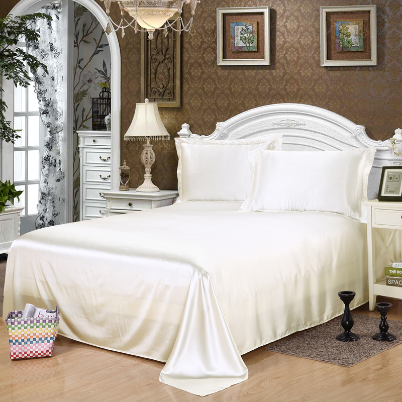 luxury Silk satin white Twin queen king size Flat Sheet bed sheet, Single, double sheet Bedding coverlet /coverlid Home Textiles