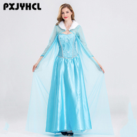 Queen Elsa Dresses Elsa Elza Costumes Princess Anna Blue Dress For Girls Party Vestidos Fantasia Adult Women Clothing Party Set