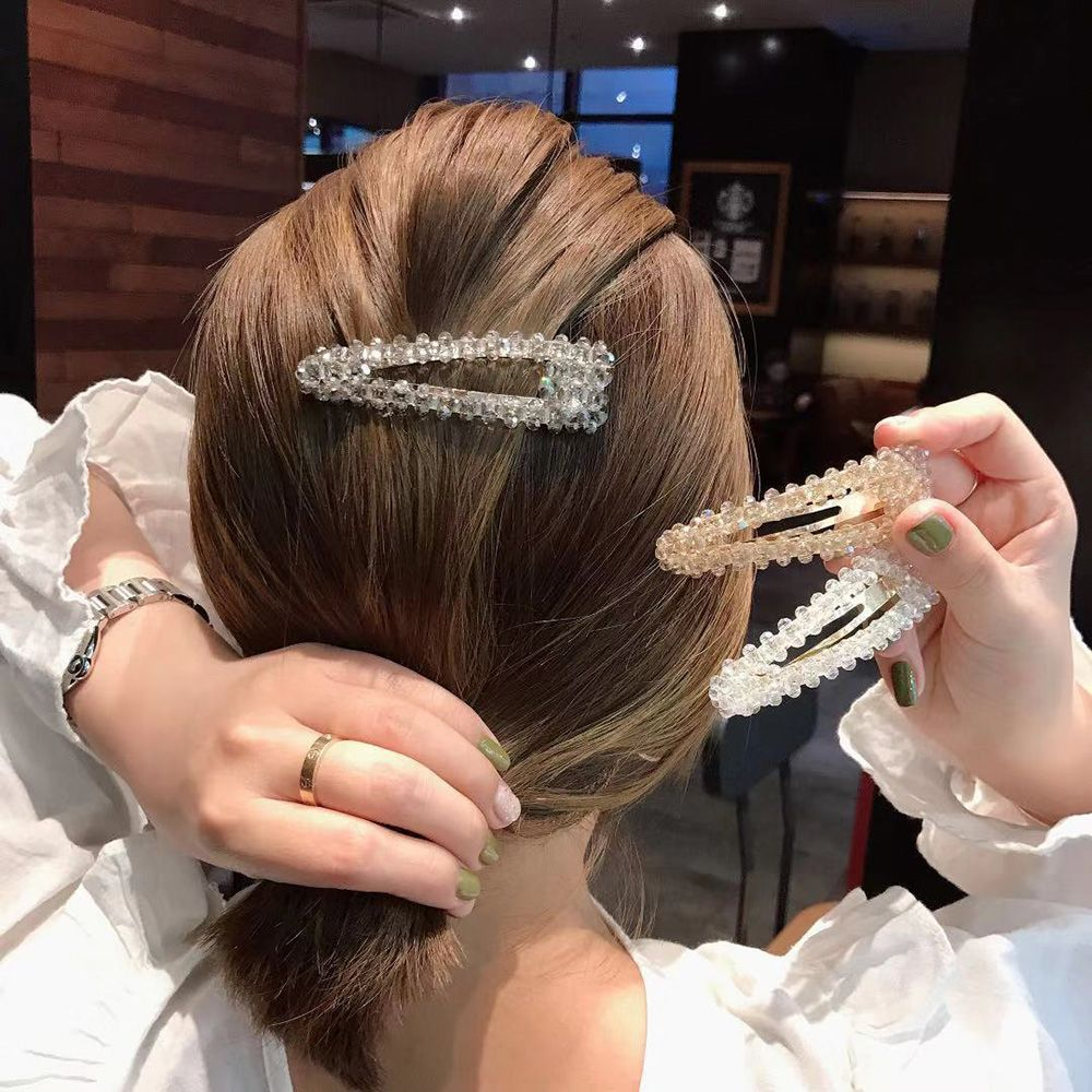 1Pc Korea Fashion Women Crystal  Rehinstone Hairpins Geometric Waterdrop Alloy Hair Clips Hair Styling Accessories New Arrival