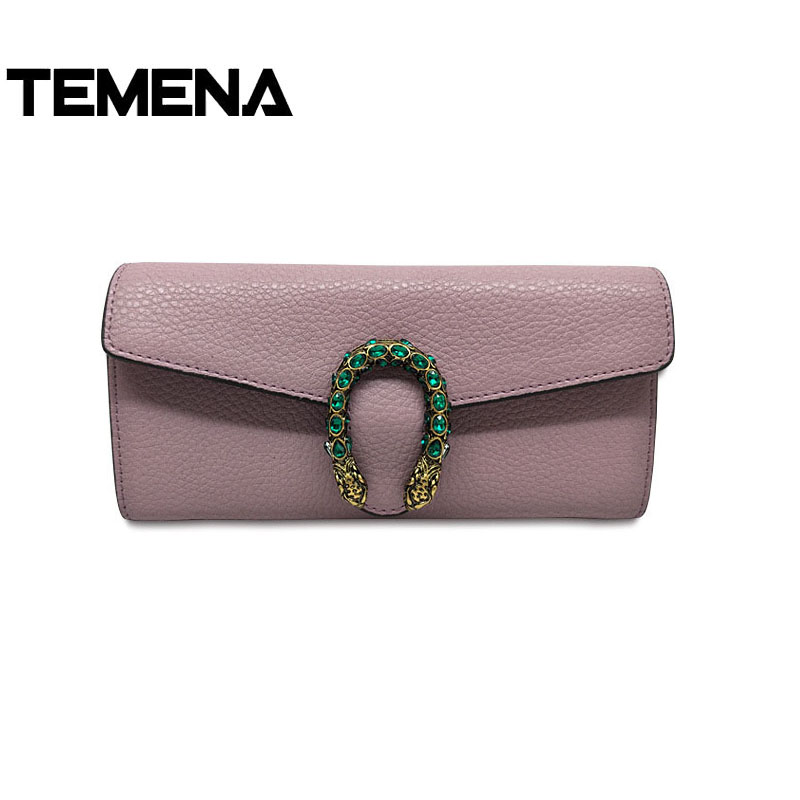 Temena Quality Cow Leather Women Wallets Clutch Money Credit Card Holders Long Luxury Split Leather Wallet Female Phone Purse tuokayisi brand luxury genuine leather women wallet female purse weave credit card holder gold clutch phone holders money bag