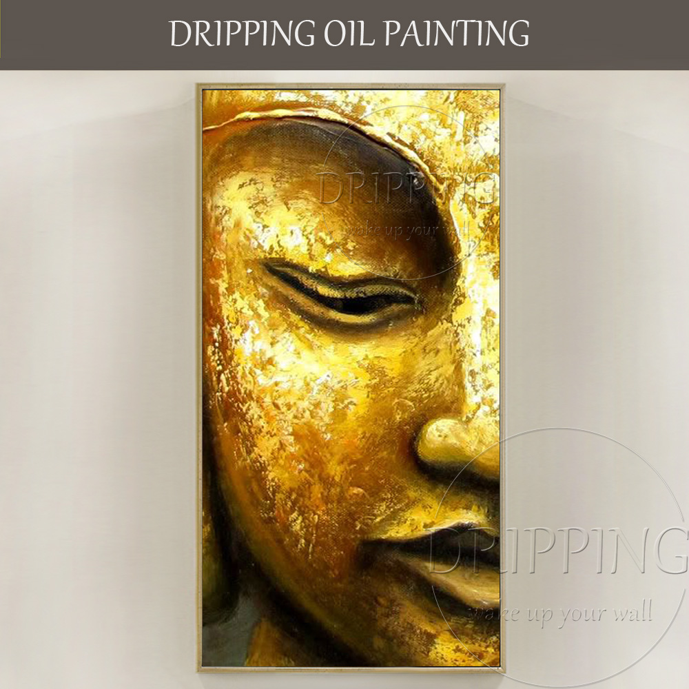 Artist Pure Hand-painted High Quality Half Face Buddha Figure Oil Painting on Canvas Golden Buddha Oil Painting for Wall Decor