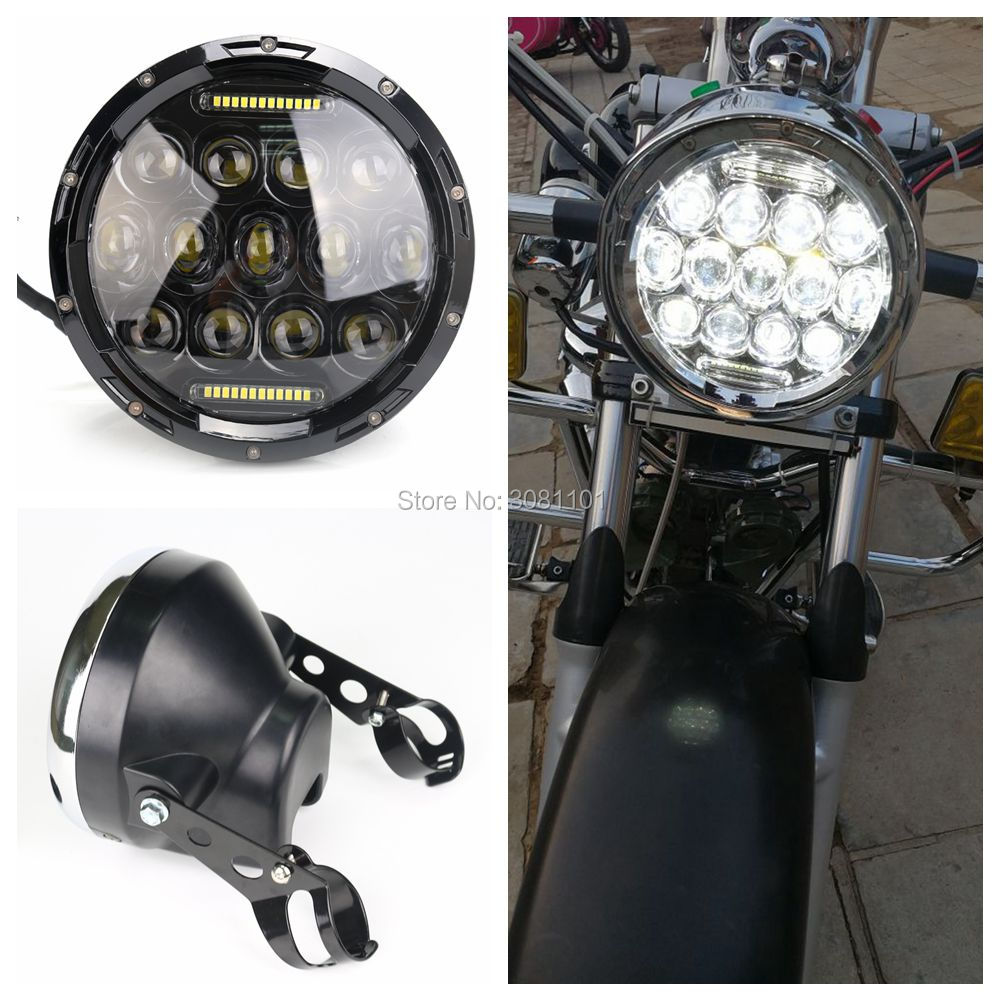 7 H4 LED Round Headlight Halo Ring Projector Daymaker Light Plus 7 Light Shell for 2001-2014 Harley Davidson Heritage Softail