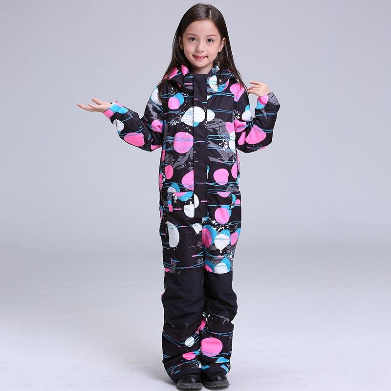 2018 GSOU SNOW девушки Одна деталь лыжный костюм Дети Сноуборд костюм ветрозащитный Водонепроницаемый Термальность уличная спортивная одежда Од