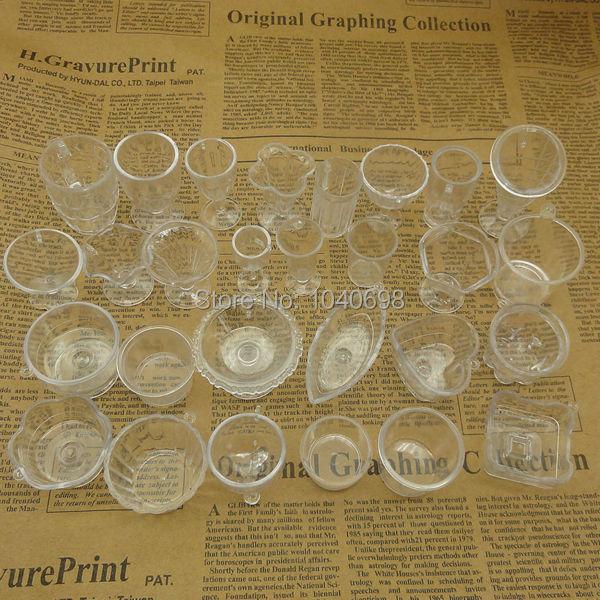 30pcs/lot Fashion Clear Miniature Ice-cream Cups Imitation PVC Plastic Glass Mix Style Artificial Parfait Cups Deco Parts