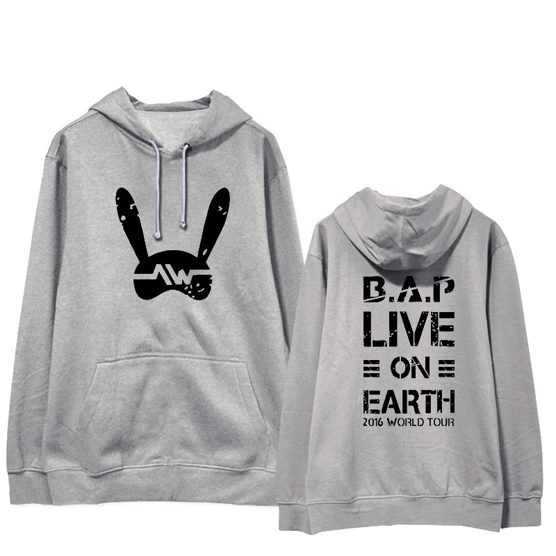 Kpop home New BAP Fan club Same Sweatershirt Harajuku style Loose Long sleeved Hoodie Man and Womens Winter Hoody with hat
