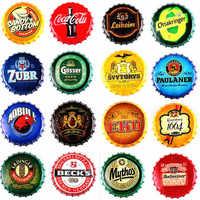 35CM Beer Bottle Cap Beer Retro Plaque Metal Tin Signs Cafe Bar Pub Signboard Wall Decor Vintage Nostalgia Round Plates Poster