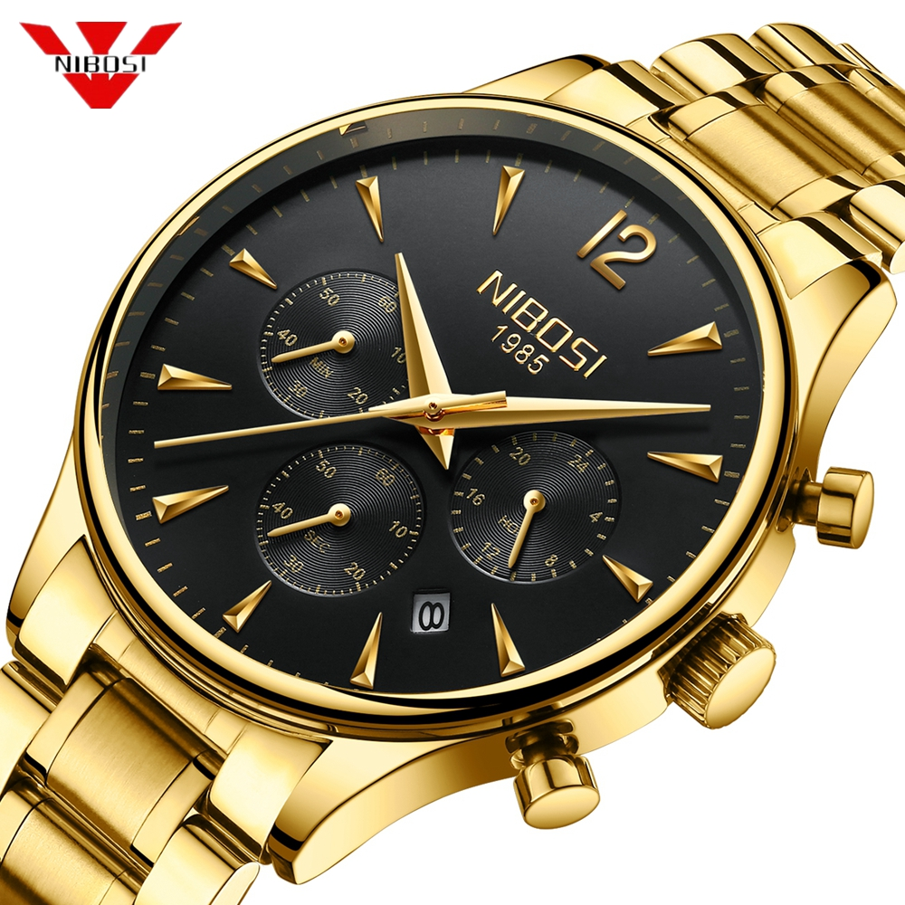 все цены на NIBOSI 2018 New Style Gold Watch Casual Dress Watch Military Quartz Watch Men Wristwatches Saat Luxury Watch For Male Gift Clock