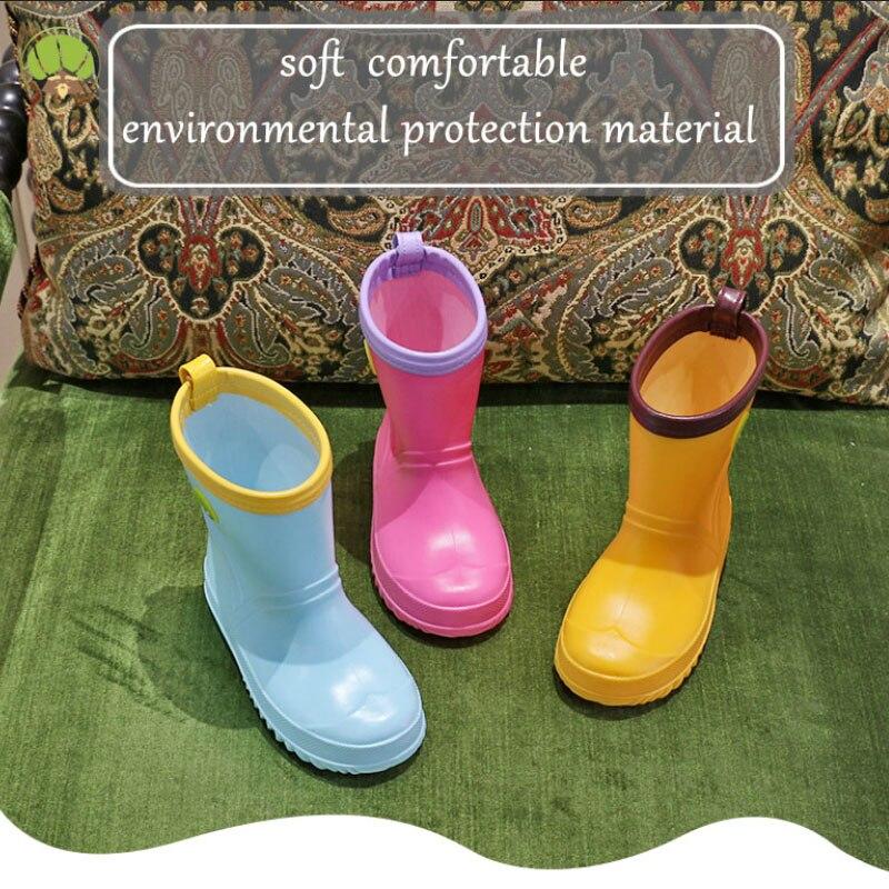 2018 New Kids boys girls non slip PVC rain boots Children's Soild Candy Colors Rubber rainshoes water shoes waterproof rainboots