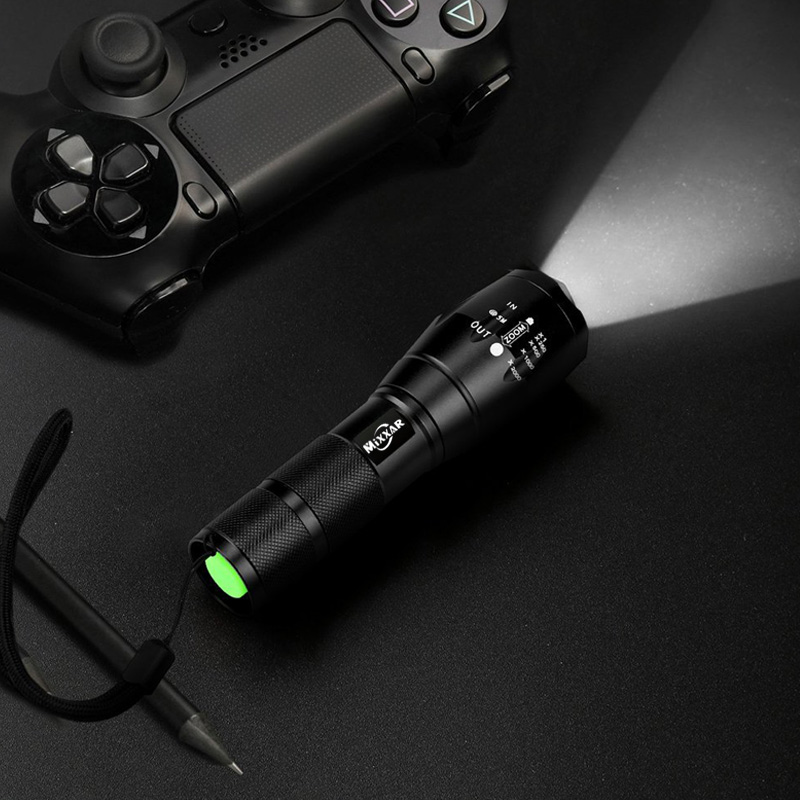 1 PCS Brightest Tactical Flashlight 8000LM PDIK LED T6 LED Flashlight High Powered Zoomable Torch For Emergency Camping Hiking in Flashlights Torches from Lights Lighting