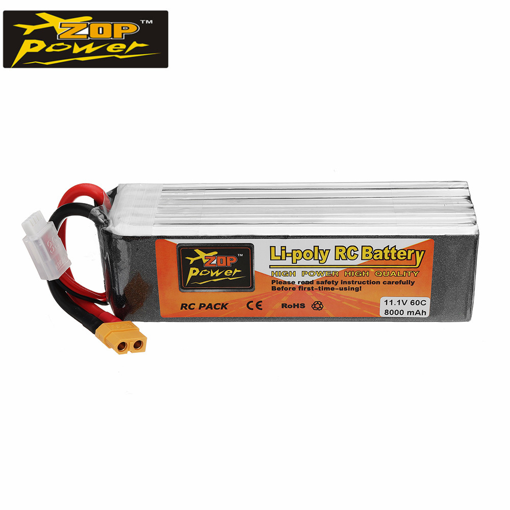 ZOP POWER 11 1V 8000mAh 60C 3S Lipo Battery Rechargeable With XT60 Plug Connector For RC