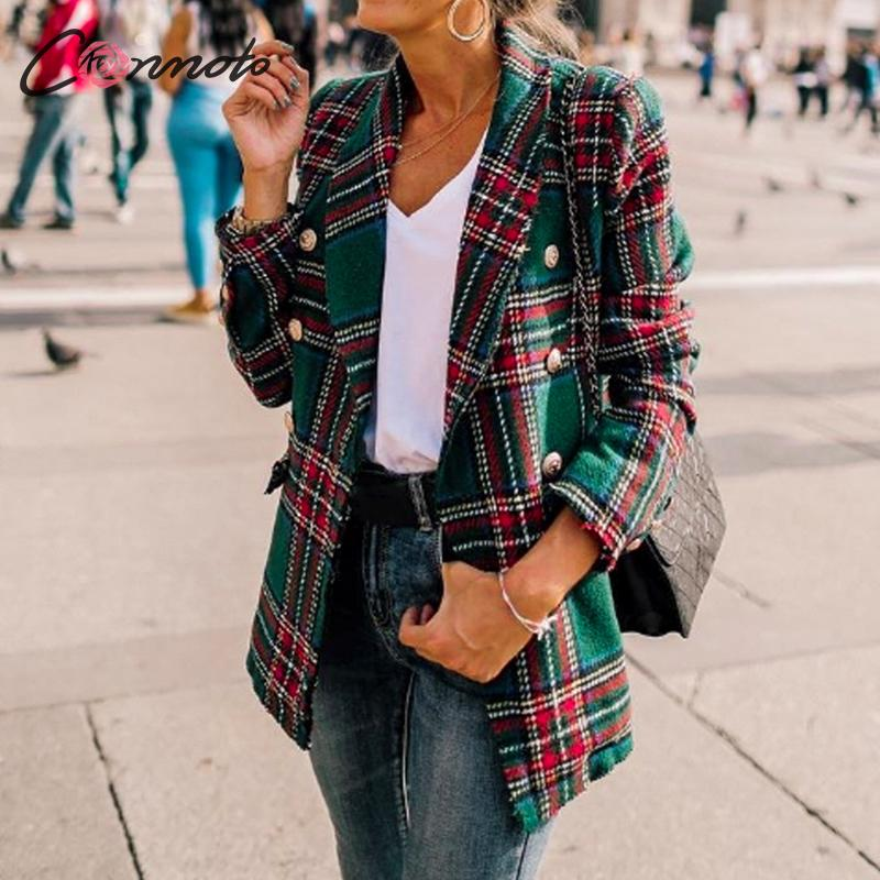 Conmoto Women Fashion Tweed Plaid Blazer 2019 Autumn Winter Female High Street Long Sleeves Jackets Mujer Business Chic Coats