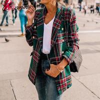 Conmoto Women Fashion Tweed Plaid Blazer 2019 Autumn Winter Female High Street Long Sleeves Jackets Mujer Business Chic Coats