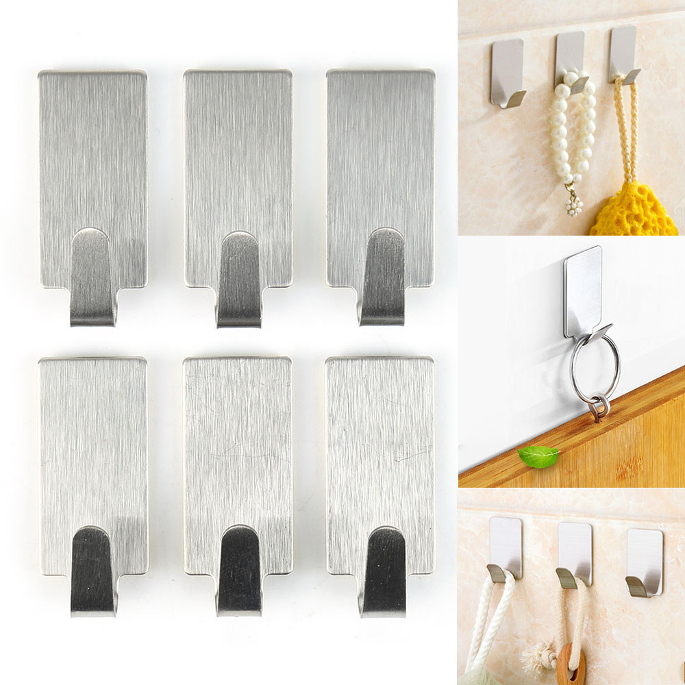 6PCS/Lot Stainless Steel Self Adhesive Towel Hooks Family Hats Bag Key Wall Sticky Hanger Kitchen Bathroom Accessories