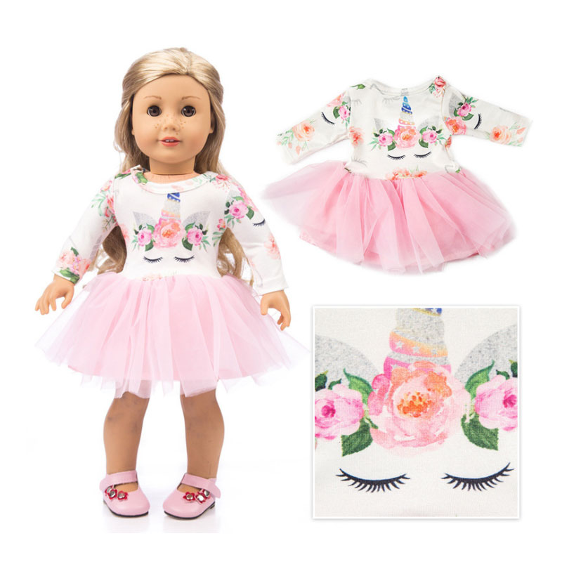 Doll Clothes Baby Fit 18 inch 40 43cm Unicorn Tulle Dress Mesh Girl Generation My Life Floral Print Long Sleeve Dolls Dresses in Dolls Accessories from Toys Hobbies