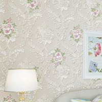 European Style Pastoral Non Woven Pink Flower Living Room Television Background Wall Paper Bedroom Papel De