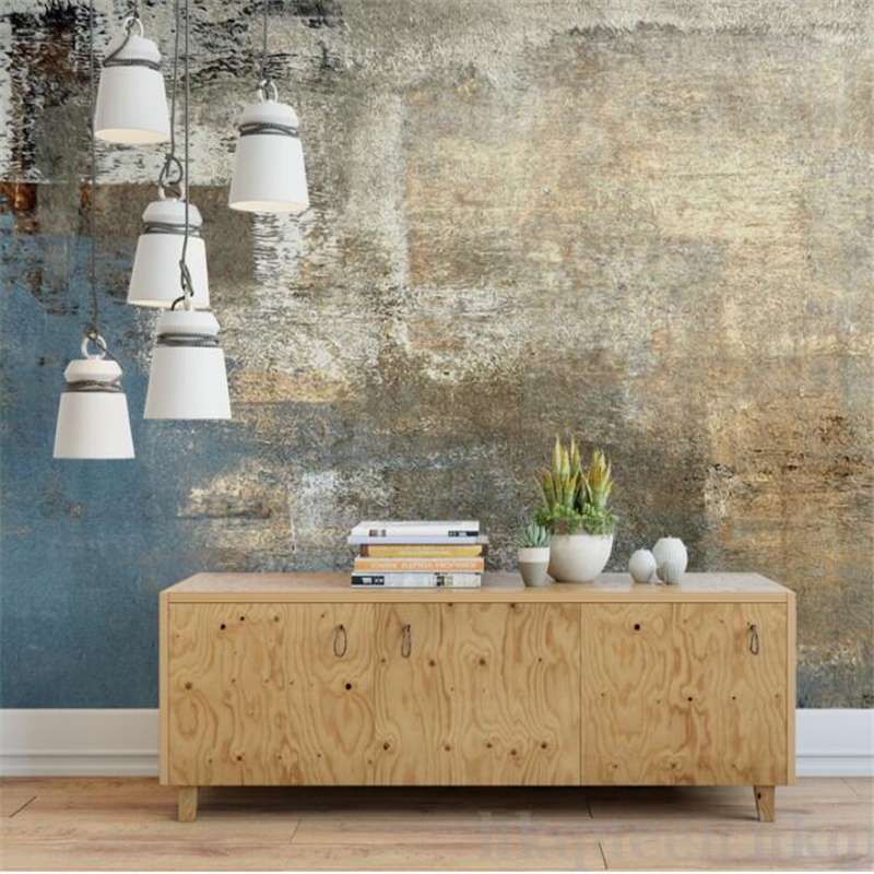 Wellyu  Papel De Parede  Custom Wallpaper   European Retro Vintage Abstract Cement Wall Pattern Hand Painted Wall Background