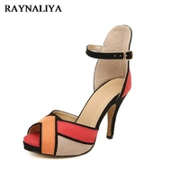Mixed Colors Shoes Women Sandals Peep Toe Faux Suede Summer Shoes High Heels High Quality Party