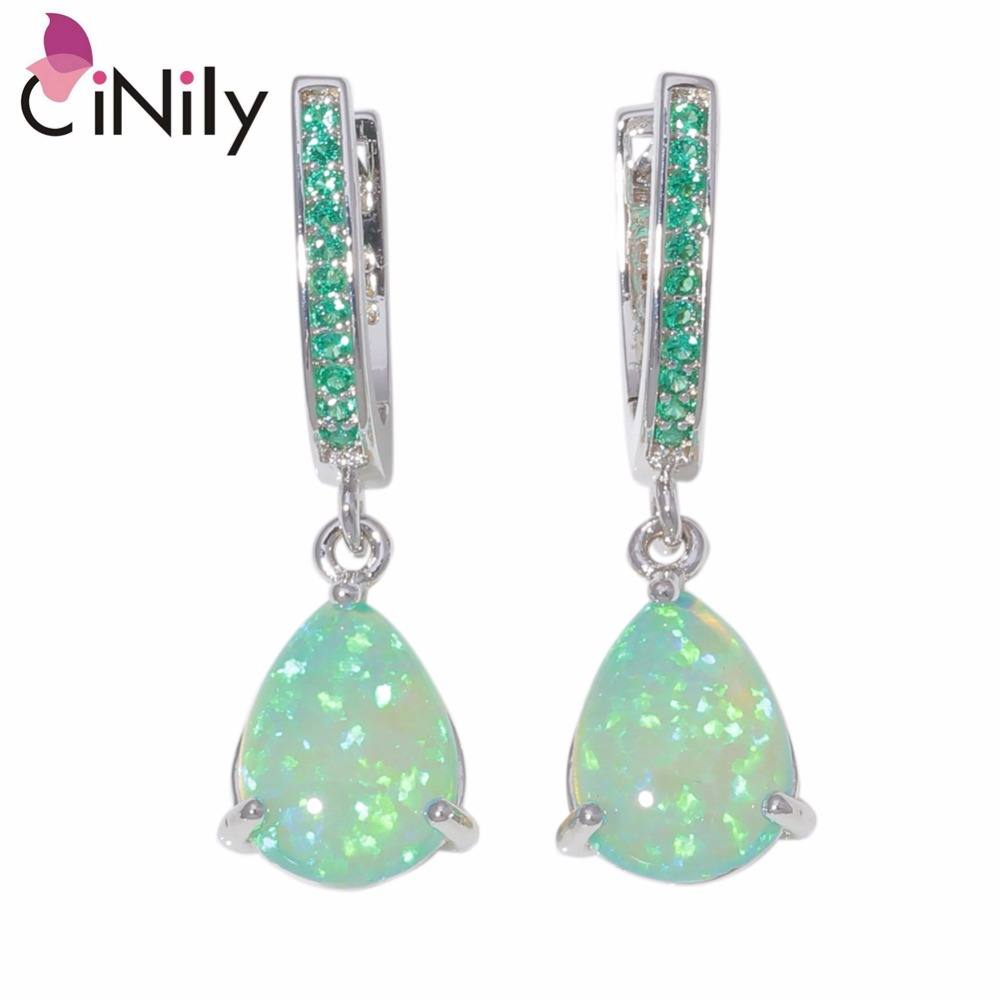 CiNily Créé Vert Blanc Opale de Feu Kunzite Argent Plaqué En Gros pour les Femmes Bijoux De Mariage Boucles D'oreilles 1 OH4494-95