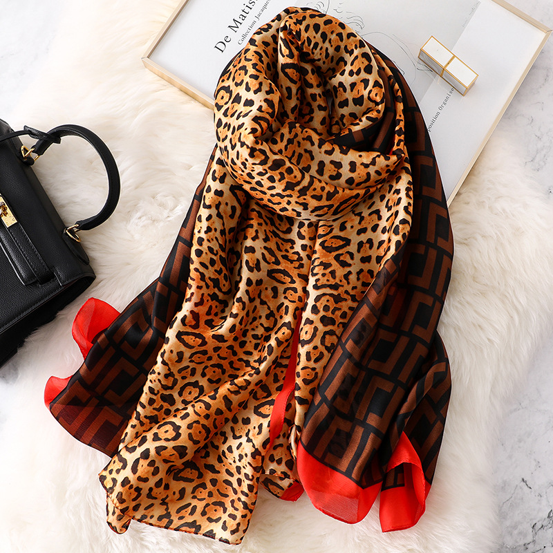 Brand leopard print silk   Scarf   women Spring Summer Plus Size Female shawl women long head   Scarves     Wraps   High quality pashmina
