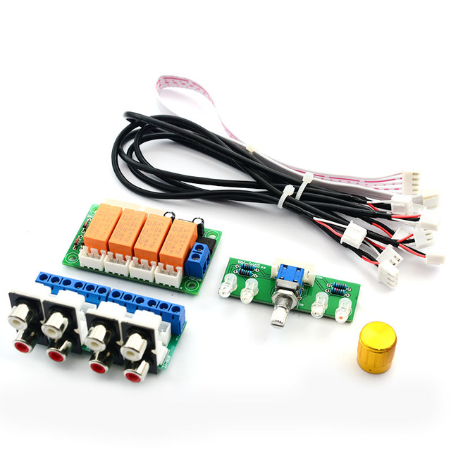 CIRMECH Relay 4-way Audio Input Signal Selector Switching  RCA Audio Input Selection Board of Rotary switching for Amplifiers