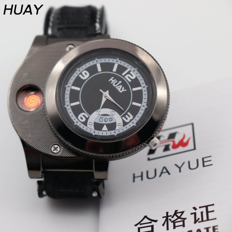 1pcs 2018 New lighter watch for men fashion Quartz Watches with USB Rechargeable Gifts Casual Flameless Cigarette Lighter F668