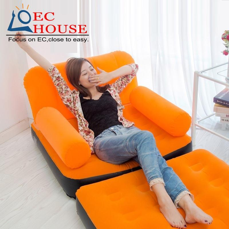 DEA#The quality of fashion suede inflatable recliner cr lazy sofa bed at noon gas FREE SHIPPING(China (Mainland))