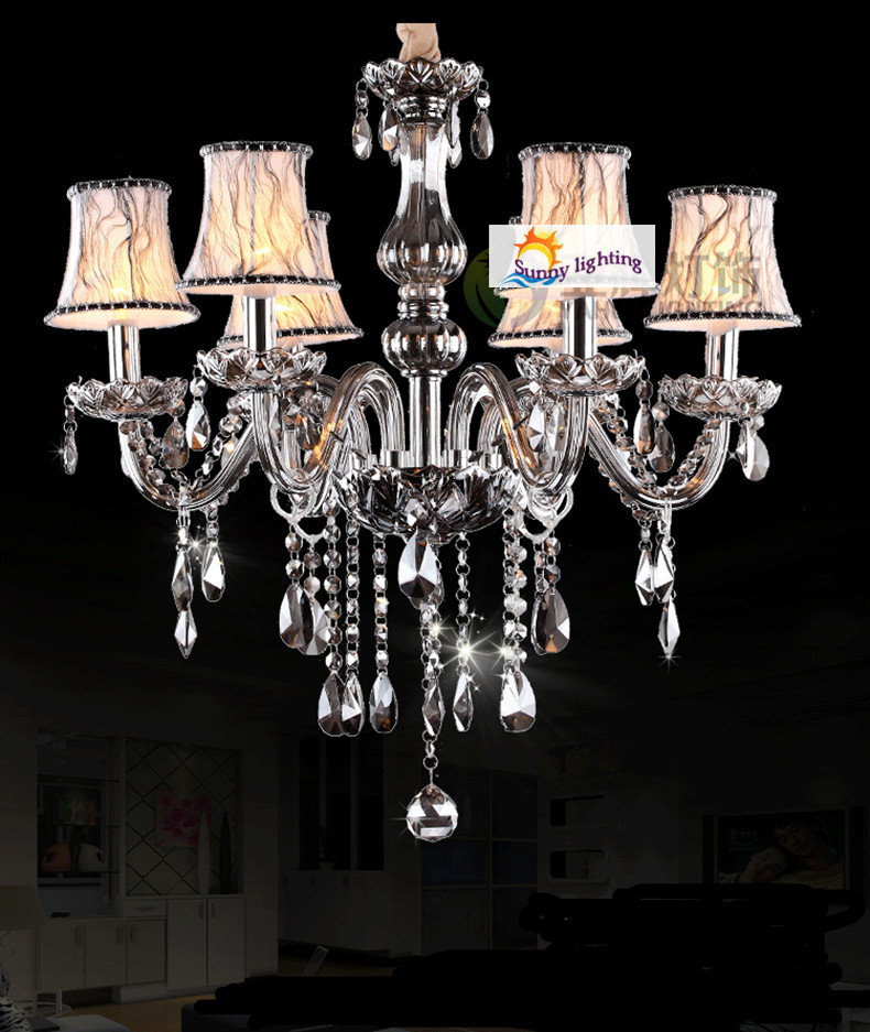 bedroom fashion grey chandelier vintage smoky crystal chandelier 6-arm lustres mini Bar kids room chandelier crystal lighting
