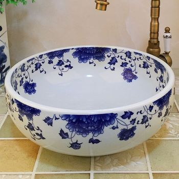 Small size chinese blue white porcelain bathroom sinks wash bowl basins