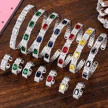 SisCathy 2PCS Bangle Bracelet/Ring Jewelry Sets Luxury Cubic Zirconia Nigerian Dubai Wedding Women boucle doreille