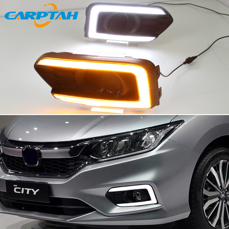 <font><b>LED</b></font> Daytime Running Light For <font><b>Honda</b></font> <font><b>City</b></font> Grace 2017 2018 2019 Waterproof Yellow Turn Signal Indicator Light Bumper Lamp <font><b>LED</b></font> <font><b>DRL</b></font> image