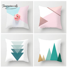 Fuwatacchi Nordic Style Geometric Cushion Cover Pink Patchwork Printed Pillow for Decor Home Sofa Decoration Pillowcase