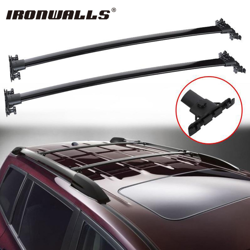 Ironwalls 2x car black roof top cross bars crossbars rail rack carrier 150lbs aircraft aluminum for