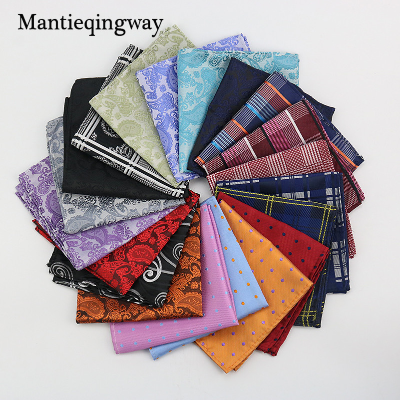 Mantieqingway Polyester Hanky Gold & Black Paisley Men Fashion Plaid Pocket Square Handkerchiefs For Men Suit Tie Handkerchief