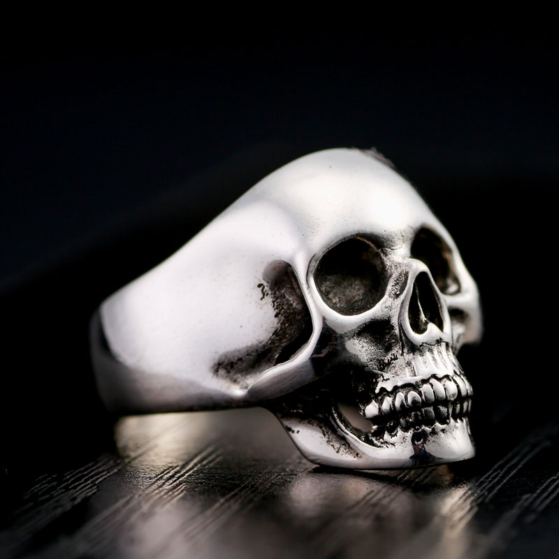 925 men's silver jewelry ring finger Rock Skull Ring Metrosexual fashion personality punk Silver Ring s925 sterling silver skull ring metrosexual officers personality of world war ii punk man retro silver ring opening