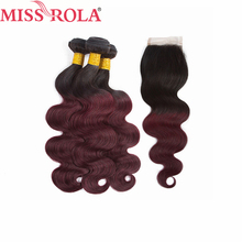 Miss Rola Hair Peruvian Body Wave Hair Weaving 3 Bundles With Closure T1B 99J Color 100