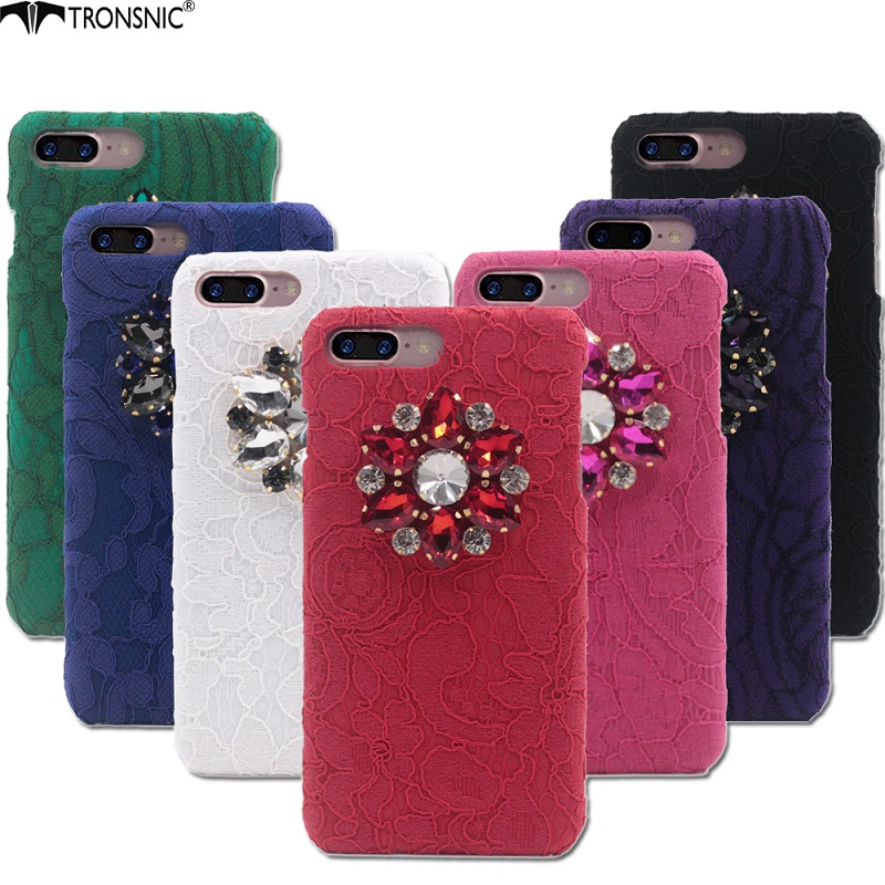 Tronsnic Lace Phone Case for iPhone 6 6s plus 7 plus Flower  Lace Purple Diamond Luxury Rhinestone Black Red Handmade Hard Cover