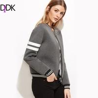 DIDK Grey Striped Trim Zipper Up Bomber Jacket Stand Collar Casual Baseball Jacket 2017 Autumn Women