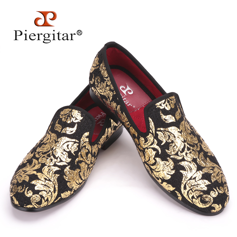 Piergitar New High-end Gold printing Men Shoes Luxury Fashion Men Loafers Men's Flats Size US 4-17 Free shipping men denim shoes piergitar new fashion star men loafers navy blue plus size men s flats size us 4 17 free shipping