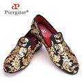 Piergitar Nueva gama Alta de impresión de Oro de Los Hombres Zapatos de Moda de Lujo de Los Hombres Holgazanes Planos de Los Hombres de Tamaño EE.UU. 4-17 El Envío libre