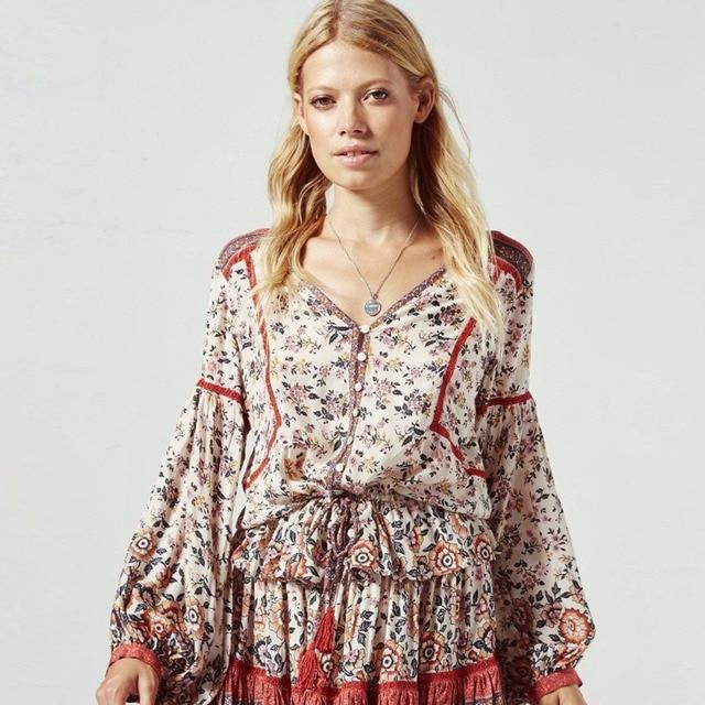 530eddbbe6 Pirate Curiosity Elle Blouse vintage Rosewood Rayon Gypsy Women Shirts Top  Buttons Tassel Tie-Waist Boho Chic Blouse Blusa 2018